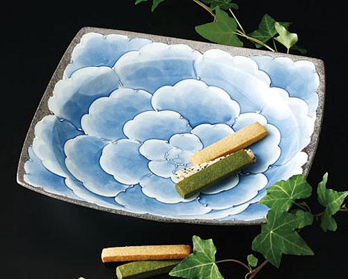 有田焼 文山窯 角盛鉢 プラチナ牡丹