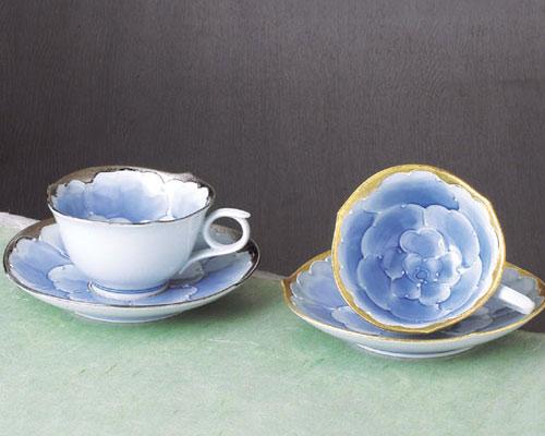 有田焼 文山窯 コーヒーカップ プラチナ牡丹ペア