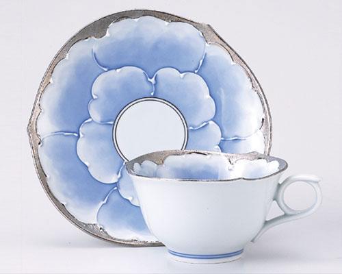 有田焼 文山窯 コーヒーカップ プラチナ牡丹