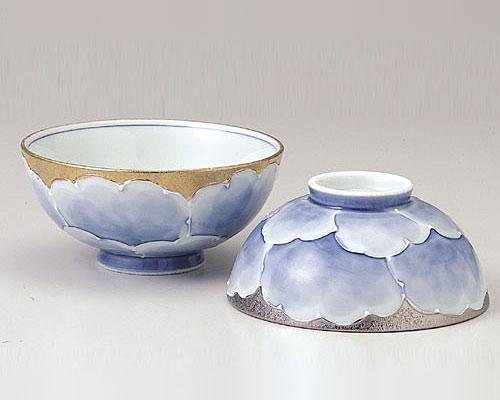 有田焼 文山窯 夫婦茶碗 プラチナ牡丹 ご飯茶碗ペアセット