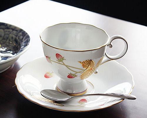 有田焼 香蘭社 コーヒー碗皿 金彩苺