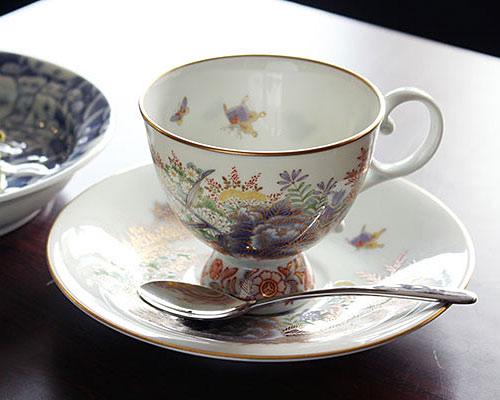 有田焼 香蘭社 コーヒー碗皿 染錦淡彩芙蓉