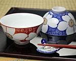 有田焼 香蘭社 飯碗ペア 山茶花