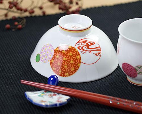有田焼 香蘭社 飯碗 赤絵丸紋