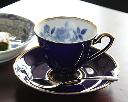 有田焼 香蘭社 コーヒー碗皿 サムシングブルー ペア