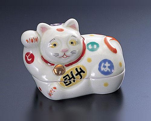 有田焼 林九郎窯 古伊万里 蓋物 千両招き猫(右)