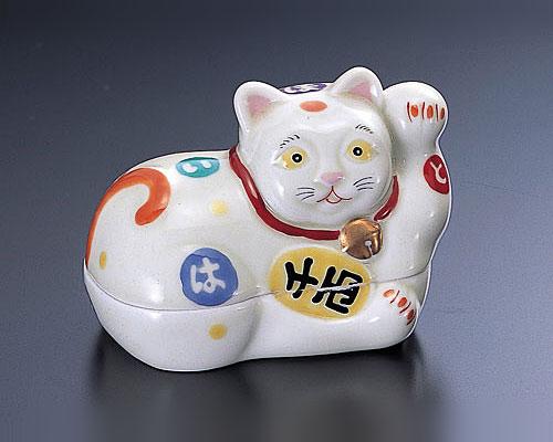 有田焼 林九郎窯 古伊万里 蓋物 千両招き猫(左)