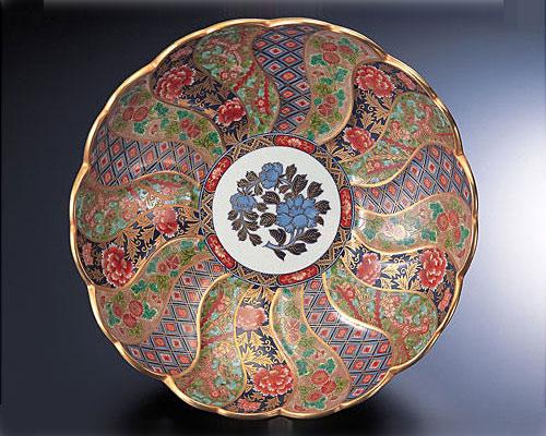 有田焼 林九郎窯 古伊万里 飾り皿 菊割内外花紋