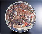 有田焼 林九郎窯 古伊万里 飾り皿 桜花酒宴の図