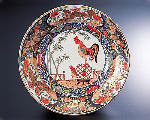 有田焼 林九郎窯 古伊万里 飾り皿 色絵双鳥図