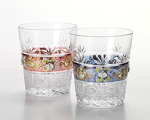 ボヘミアガラス ラスター ハイエナメル ペアオールドファッション
