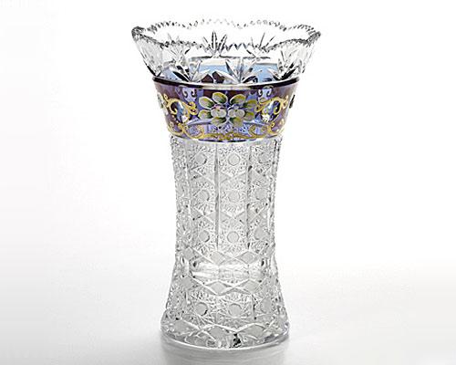 ボヘミアガラス ブルーラスター ハイエナメル ベース(花瓶) 25.5cm