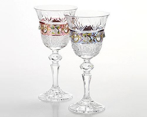 ボヘミアガラス ラスター ハイエナメル ペアワイン 130ml