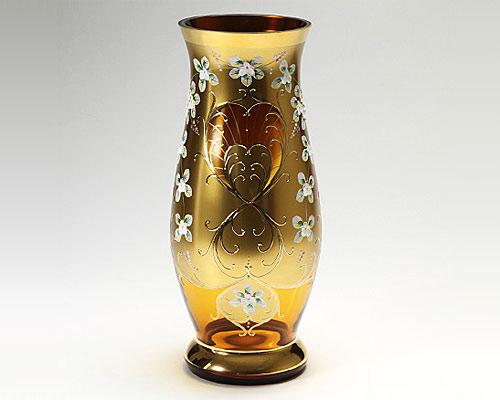 ボヘミアガラス ハイエナメル オレンジ 花瓶 H40cm