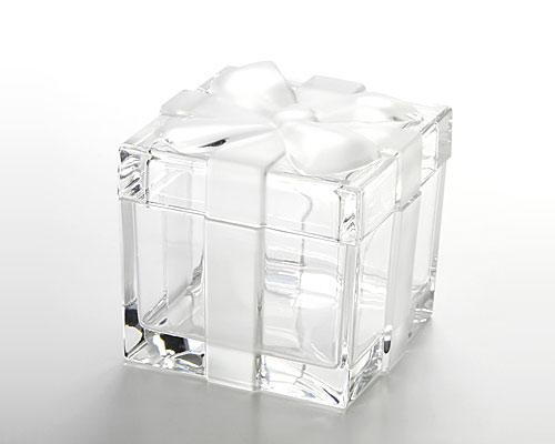 ボヘミアガラス クリスタル スクエアボックス(L) リボン