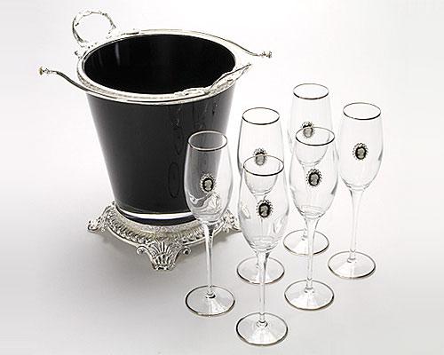クレアート シャンパンセット クーラー1&グラス6 カメオ