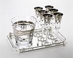 クレアート シャンパンセット クーラー1&トレイ1&グラス6 シルバー