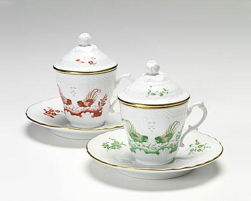 リチャードジノリ レッドコック&グリーンコック コーヒーカップ&ソーサー