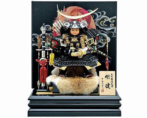 五月人形 武者人形 伊達政宗大将 子供大将飾り 二曲飾り