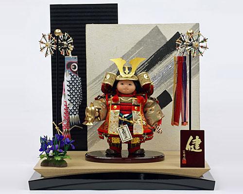 五月人形 平飾り 武者人形 子供大将 ミニ健