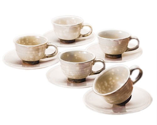 萩焼 碗皿 天龍窯 御本手 コーヒー碗皿 5客揃 木箱入