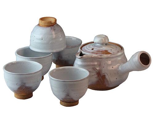 萩焼 茶器揃 白釉 和幸作