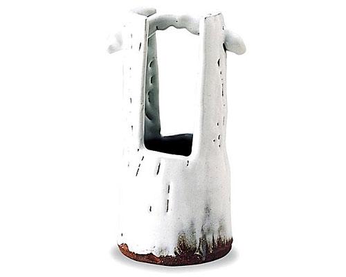 萩焼 花瓶 白釉手桶花入 山根清玩作 木箱付