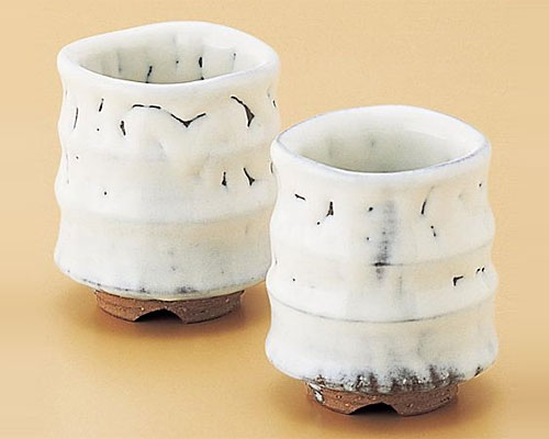 萩焼 湯呑 白釉組湯呑 片山貴夫作 木箱付
