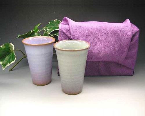 萩焼 フリーカップ 二色 ペア 風呂敷包み付