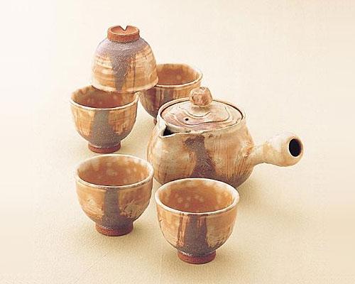 萩焼 茶器揃 彩土 木箱付