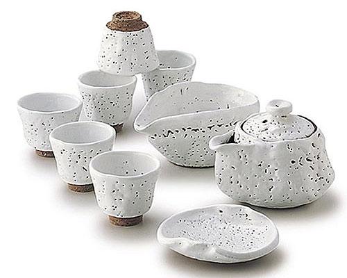 萩焼 茶器揃 白釉ひねり 納富鳥雲作 木箱付