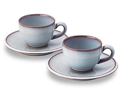 萩焼 碗皿 藍珈琲ペアー 化粧箱付
