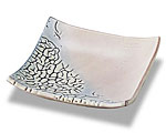 萩焼 皿 白釉角皿 陶修作 化粧箱付