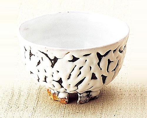 萩焼 抹茶碗 割り高台白 小松健作 桐箱付