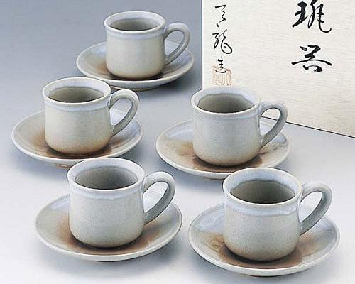 萩焼 碗皿 姫萩コーヒー碗皿5客