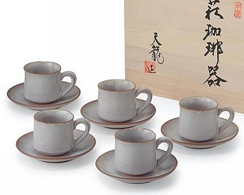 萩焼 碗皿 白萩 5客コーヒー碗皿揃