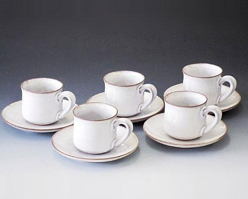萩焼 碗皿 白萩コーヒー碗皿5客