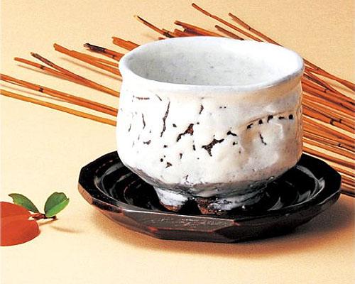 萩焼 碗皿 原節夫 白萩いっぷく碗 木皿付