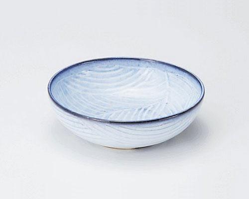 萩焼 鉢 孝彩窯 青釉 彫菓子鉢