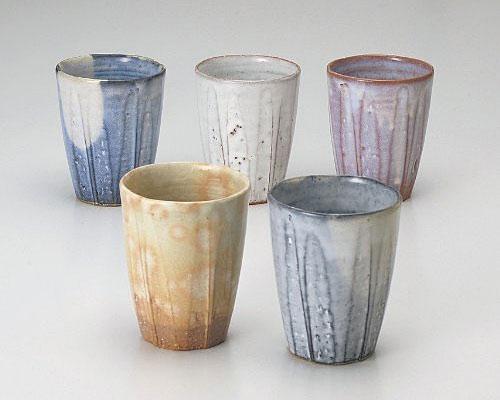 萩焼 フリーカップ 孝彩窯 五釉 セット