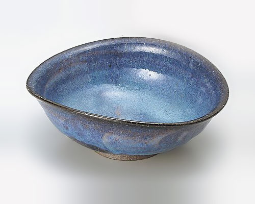 萩焼 鉢 山根清玩 藍流楕円鉢