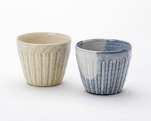 萩焼 フリーカップ 孝彩窯 色変り ペア