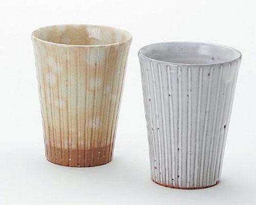 萩焼 酒器 孝彩窯 色変り ペアビールカップ