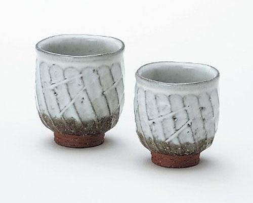 萩焼 湯呑 椿秀窯 白釉 組湯呑