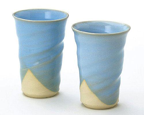 萩焼 フリーカップ 椿秀窯 淡蒼 ペア