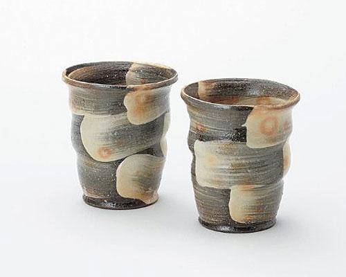 萩焼 フリーカップ 椿秀窯 刷毛目 ペア