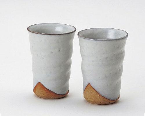 萩焼 フリーカップ 椿秀窯 白釉 ペア