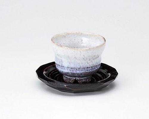 萩焼 碗皿 服部要萩 釉彩 いっぷく碗 木皿付