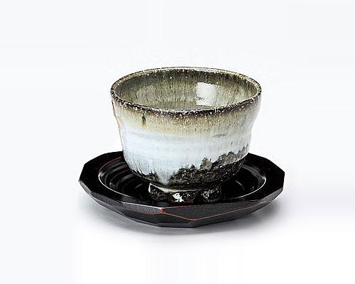萩焼 碗皿 服部要萩 窯変 いっぷく碗 木皿付