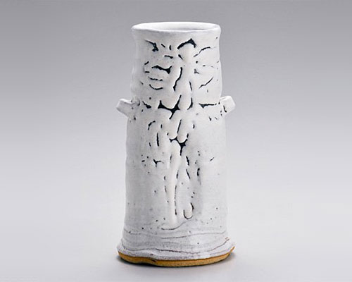 萩焼 花瓶 天龍窯 白萩花入 原節夫作 木箱入